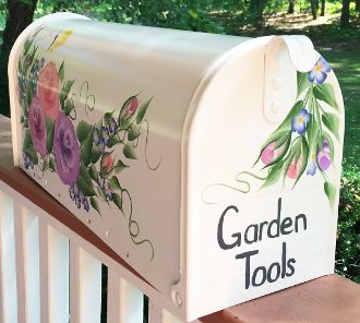 hand painted mailboxes, cottage roses post mount with 3 colorful roses