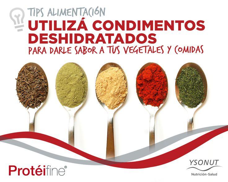 .: Tips #Alimentación :. Utiliza condimentos deshidratados para darle sabor a tus #vegetales y comidas. Ejemplo: orégano, albahaca, ají molido, estragón, romero, cebolla, ajo, tomillo, provenzal, perejil, curry, etc. Las podes usar tanto para las tortillas de #Protéifine, tus ensaladas o #verduras grilladas. ¿Cuál te gusta más? www.ysonut.com.ar #Ysonut