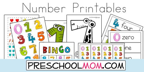 Free Number Printables from Preschool Mom!  Classroom Charts, Bingo Games, Wordwall Cards, Memory Matching Games, File Folder Games, Handwriting Pages and more!