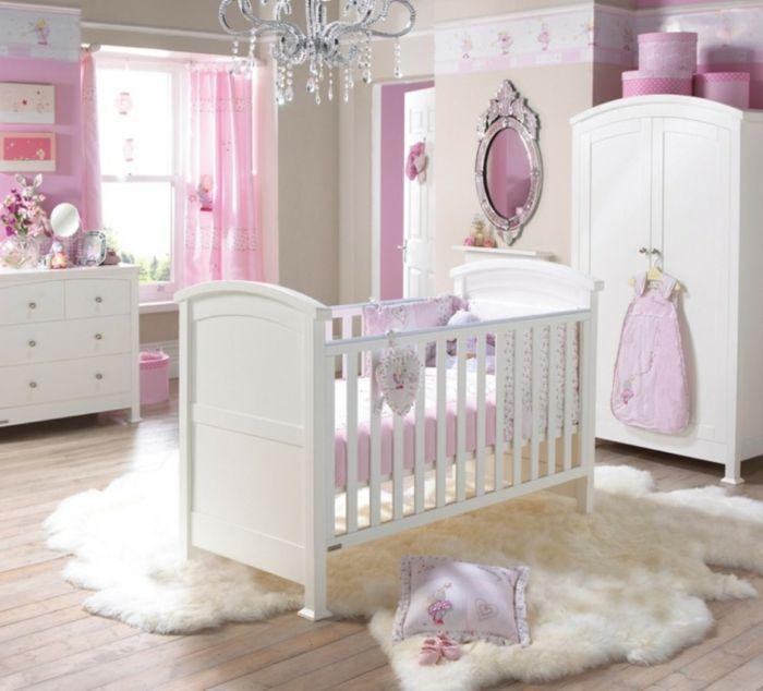 Fabulous babyzimmer grau rosa gestaltungsideen wei lila violett pelzteppich bett im zentrum des zimmers design
