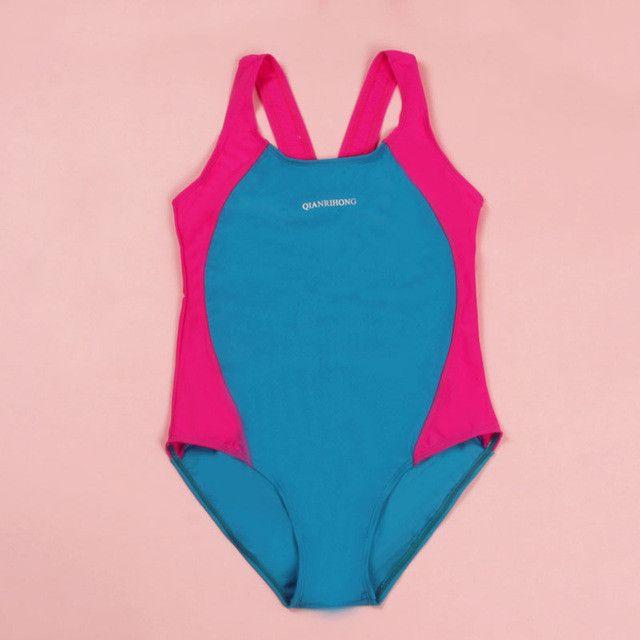 2017 New Summer One Piece Sports Bathing Suit Girls Patchwork Kids Siamese Bikini Mode Mode Children Sport Swimwear 62052