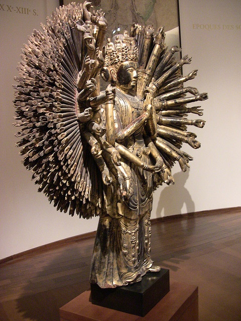 Guimet, Museum of Asian Art of Paris, Thousands Harms, Six Figure on Head and Buddha on Lotus Above, Chine XIII C.