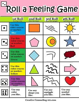 Beyond Art Therapy Roll-A-Feelings Game