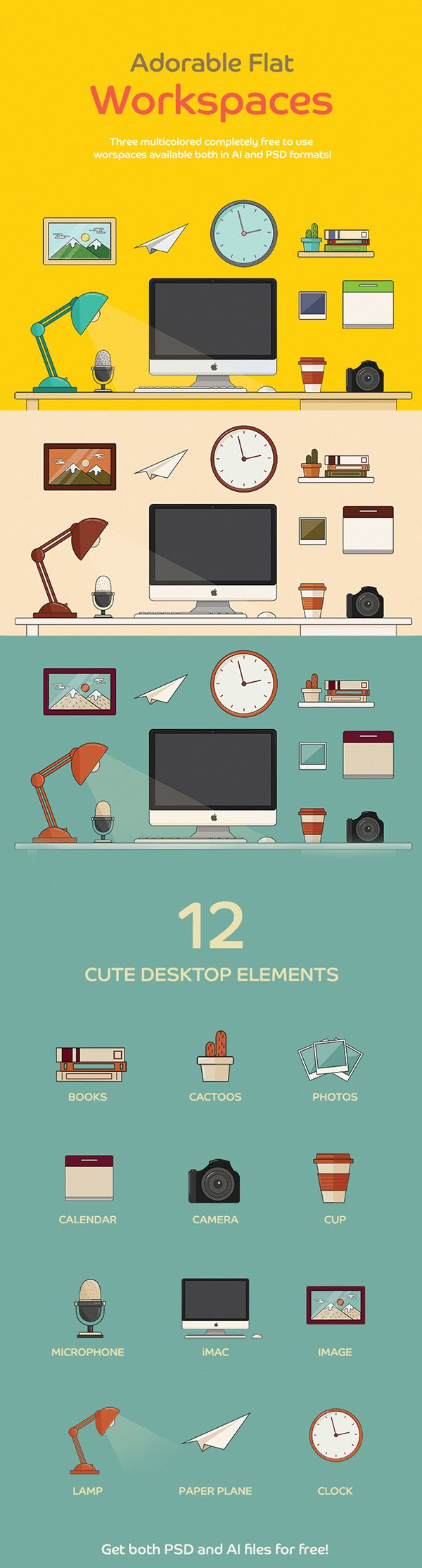 FREE Adorable Flat Workspace on Behance