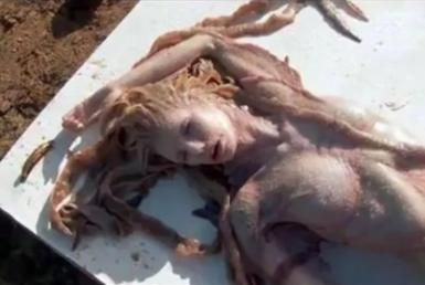 Is This a Real Mermaid Caught on Video?: Video of a mermaid found in India? No, it's a montage of still shots taken during the shooting of a very famous Hollywood movie.