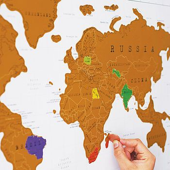 Scratch Off World Map. Love this - scratch the gold foil off the places you've been.