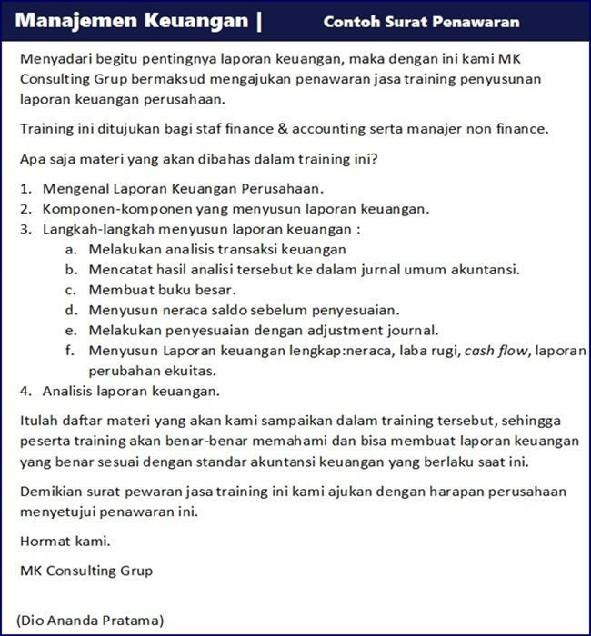 Contoh Surat Penawaran Harga Barang Jasa Dan Kerjasama Surat Laporan Keuangan Keuangan
