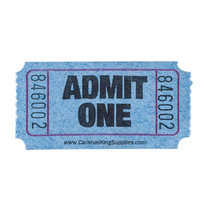"""Carnival King Blue 1-Part """"Admit One"""" Tickets - 2000 / Roll $2.79 for 2000"""