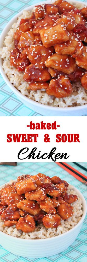 Baked Sweet and Sour Chicken #chicken #homemadetakeout #chinesefood