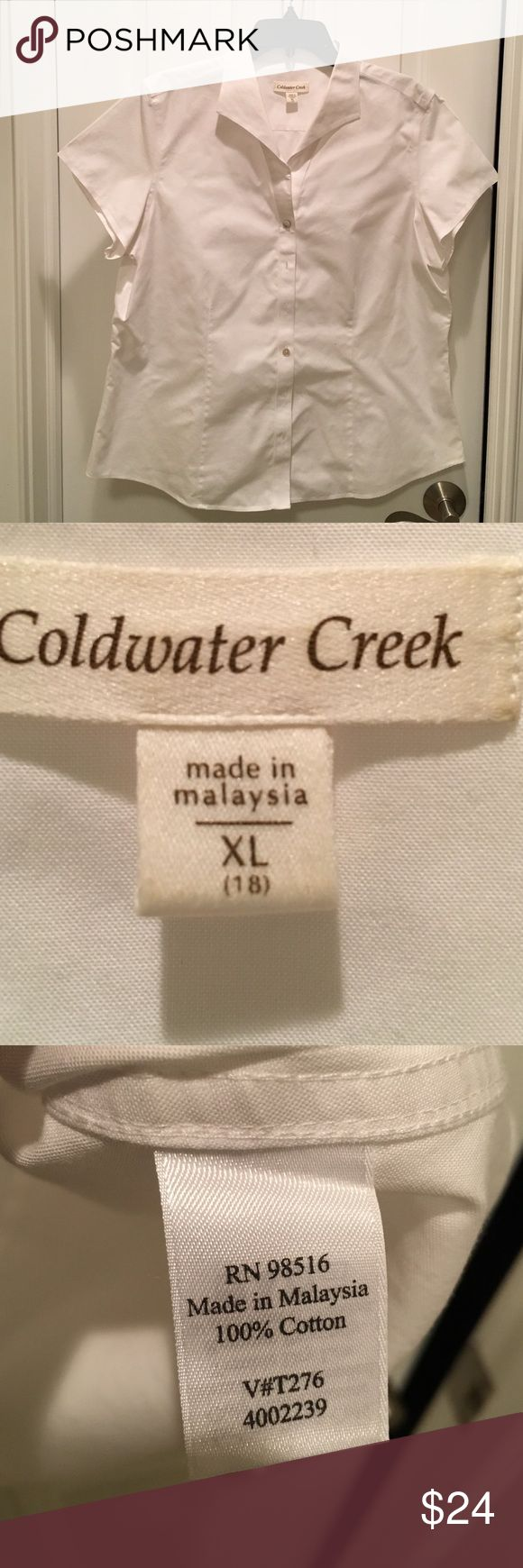 Coldwater Creek White 100% Cotton Blouse White 100% cotton button front short-sleeved blouse from Coldwater Creek.   Size XL or 18. Coldwater Creek Tops Blouses