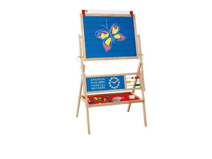• oboustranná tabule na hraní a učení • stabilní dřevěný rám • snadné otáčení a bezpečné upevnění • jedna strana popisovatelná křídou – včetně kříd a houby • magnetická strana s písmeny, číslicemi a matematickými znaky • velká vyměnitelná role papíru na stabilním držáku • včetně odkládací plochy • rozměry: cca 119 x 69 x 44 cm  1 tabule, 3 možnosti využití: – na malování – na psaní – magnetickáObrázek produktu