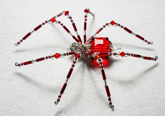 Noel  red and silver glass beaded spider goth sun by llanywynns, $18.00