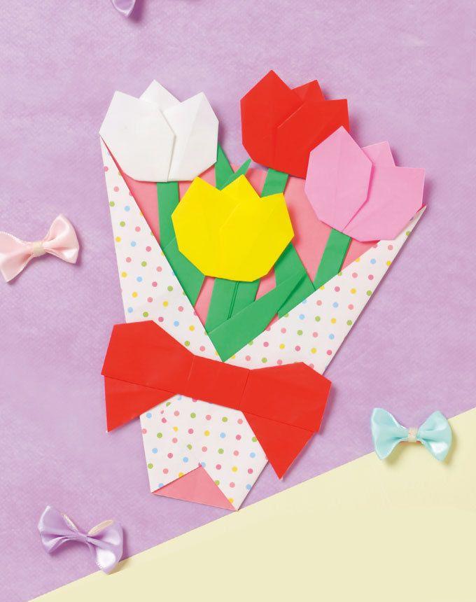 母の日にもピッタリなチューリップの花束です。 一緒にお手紙も書いて♪