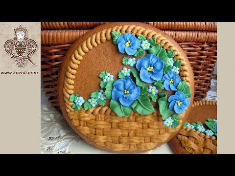 (2) Mother's Day cookie gift. Basket Cookies With Violets Fowers.Cookie decorating with royal icing - YouTube