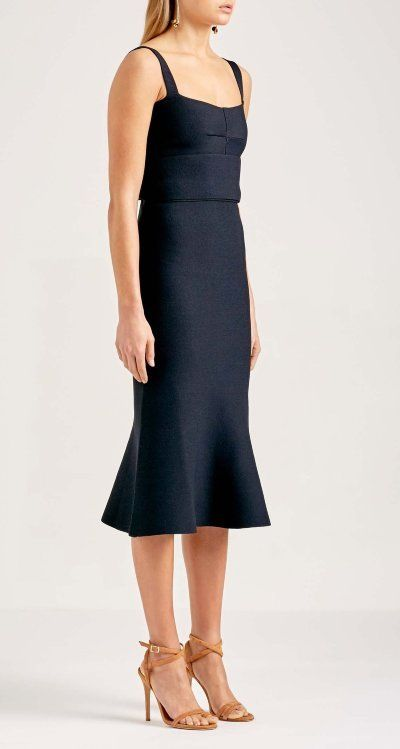 bce9b4f08319d3 Rent a Dress AU  Scanlan Theodore Crepe Knit Bralette Dress Navy ...