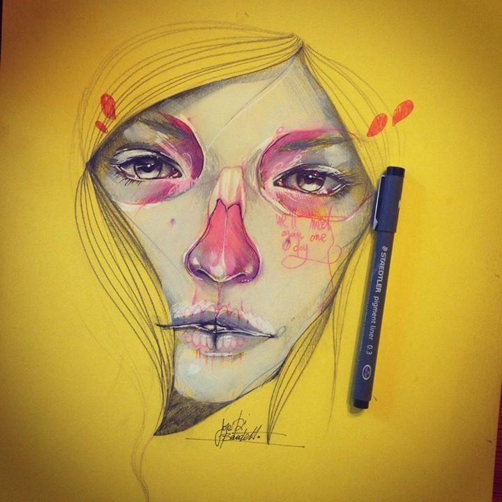 Feminine drawings by Jari Di Benedetto | Martineken Blog