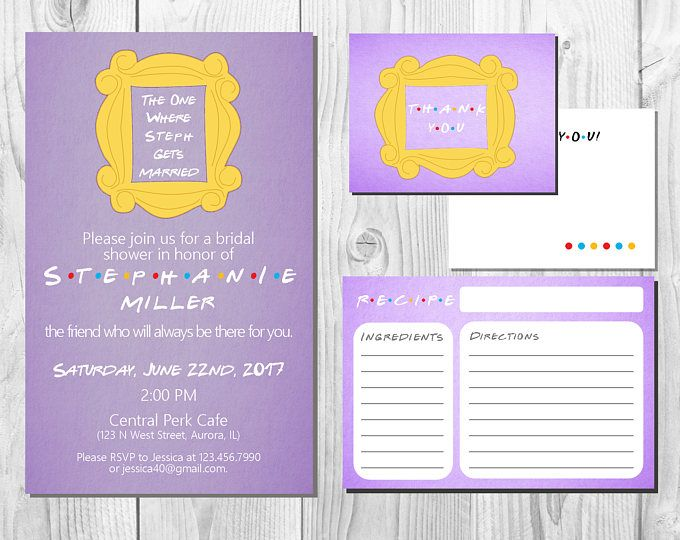 Friends TV Show Bridal Shower Invitation Package