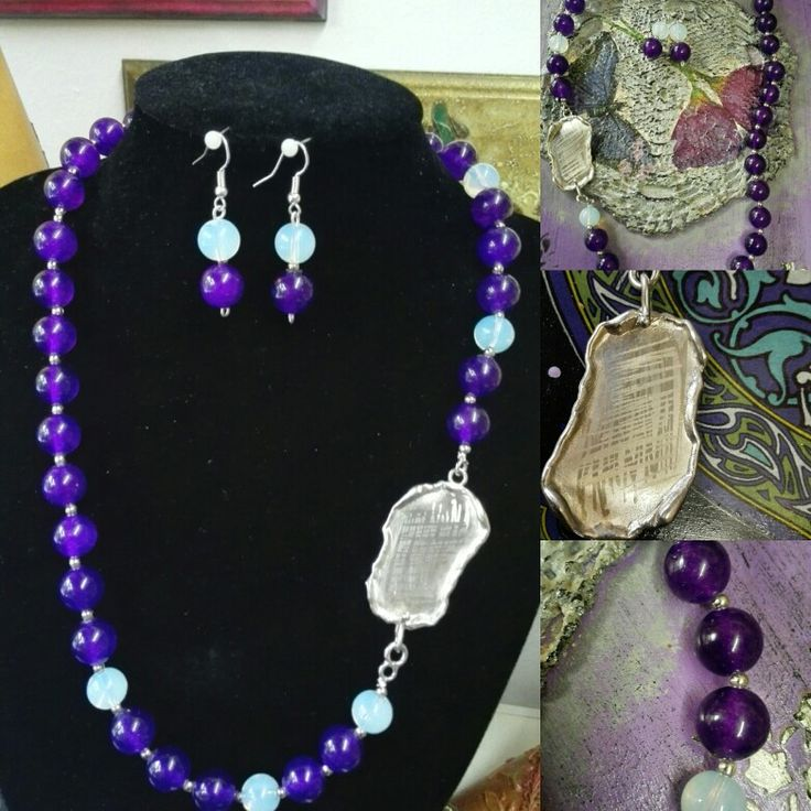 Ogrlca i naušnice,Ametist i Mjesecev kamen,ukrasna kopča od srebra,ručni rad. Set,necklace&earrings Amethist,Moon srone&silver,handmade