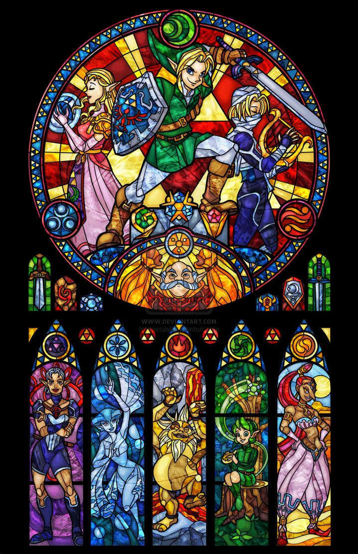 Ocarina Of Time The Seven Sages Stained Glass By Nenuiel
