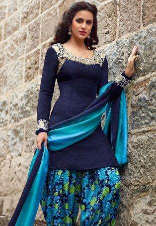 Dark blue art pashmina silk semi-stitched kameez designed with resham, stone, applique and patch border work. From Utsav Fashion.