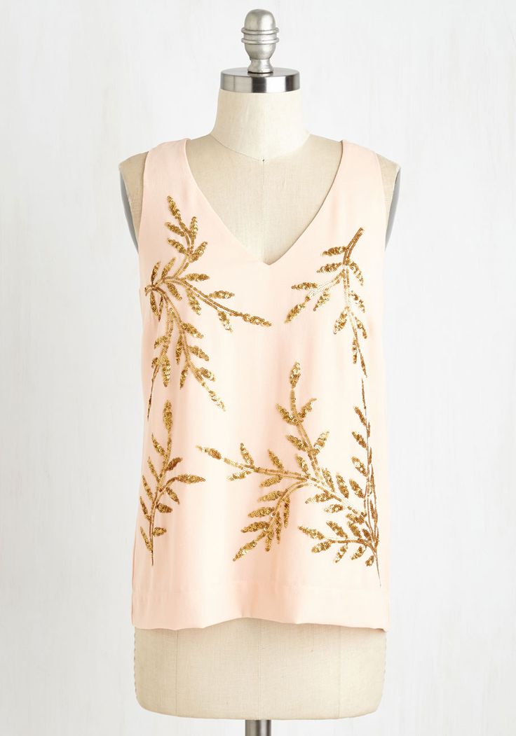I'll Have One of Peach Top - Mid-length, Pink, Gold, Print, Sequins, Special Occasion, Party, Girls Night Out, Sleeveless, Summer, Woven, Better, V Neck