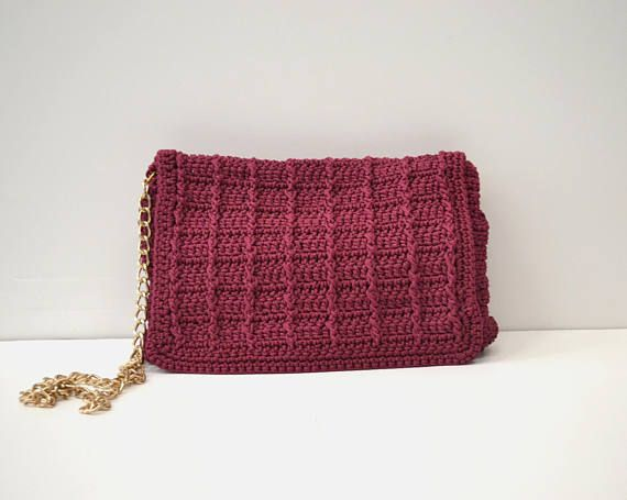 Bordeaux Crochet crossbody bag Shoulder bag Flap bag