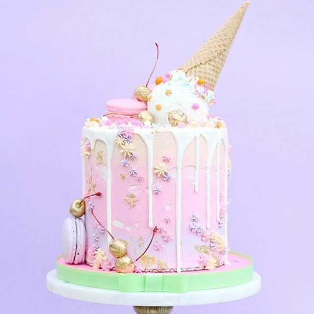 Amazing melting ice cream drip cake by @jonathan_caleb_cake  Follow us @tastyinspiration for more inspirational pictures