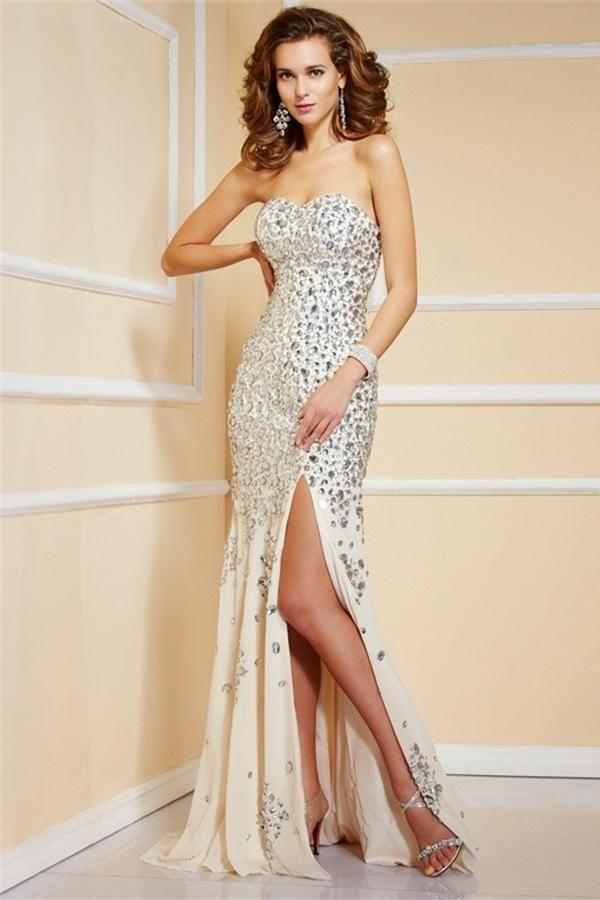 Sparkly Long Mermaid Sweetheart Open Back Modest Prom Dresses Z0568