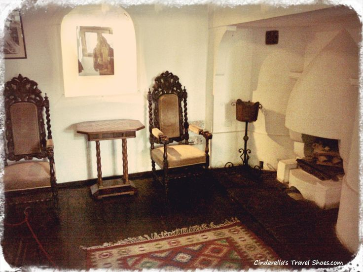 The furniture inside of Bran castle