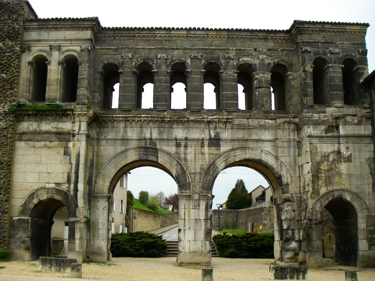 The ancient Roman Gates of Autun in Burgundy France.