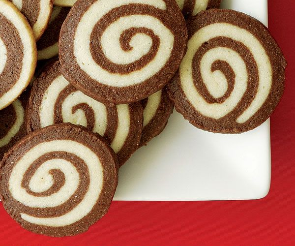 With their chocolate-and-vanilla spirals, these treats are perfect for a cookie exchange.