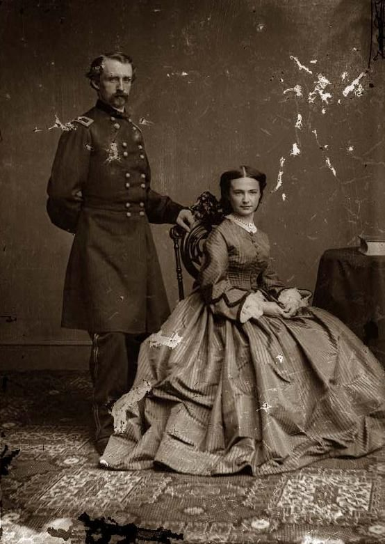 General George Custer & Wife. It was taken between 1860 and 1865.