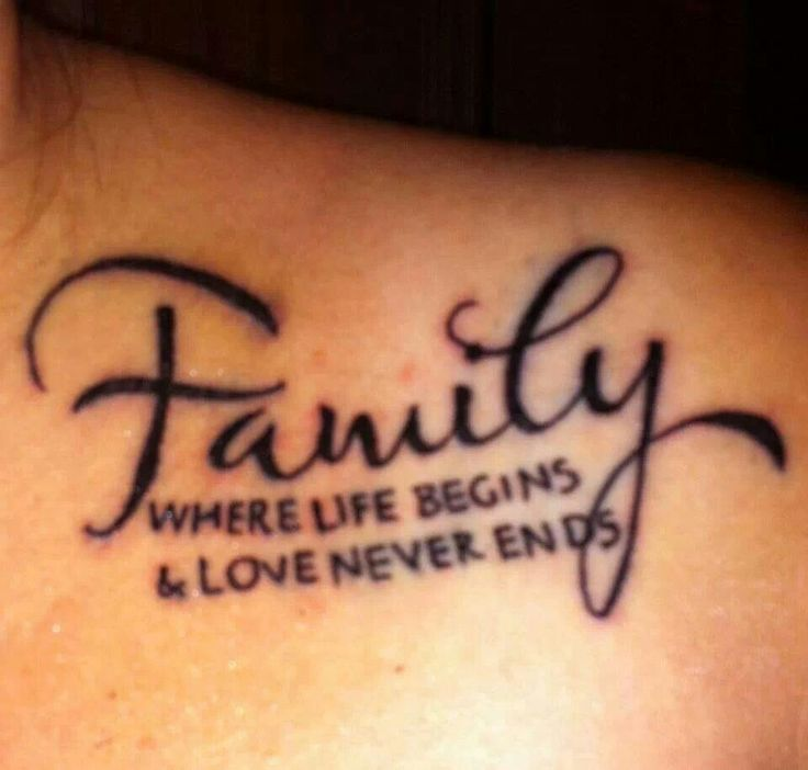 family where life begins love never ends ink