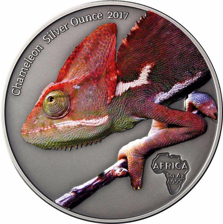 Afrika Serie - Chamäleon Silber Unze 2017 Kongo 1000 Francs Silbermünze in Farbe