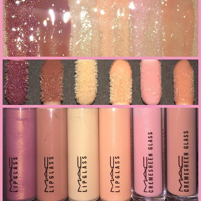 WEBSTA @ dominic_mua - There are #AMillionAndOne #Nude #LipGloss out there but these are my #Favs! #MAC #Lipglass LtoR: #LoveChild, #Spice, #CThru, #SignsOfSpring, #FashionScoop