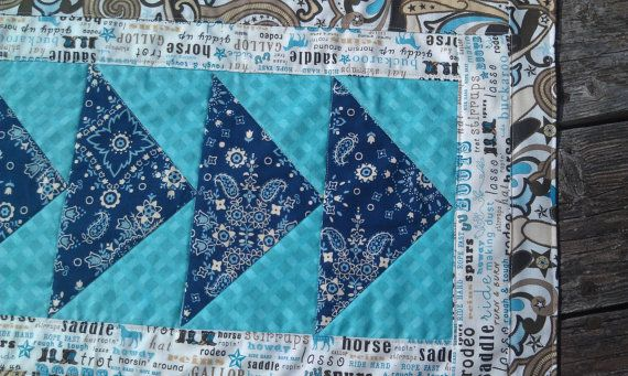 Turquoise Brown Quilted Table Runner Handmade Usa