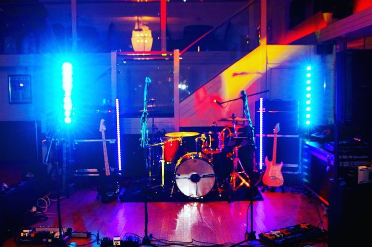 A very colourful set up from Happy Hour!  Suhr Guitars Music Man: Sting Ray Bass Pearl Drum kit Mesa Boogie amps Vox amps.  Can you spot any more?  #musictech #musicgear #music #live #band #weddingband #happyhour #happyhourband #alivenetwork