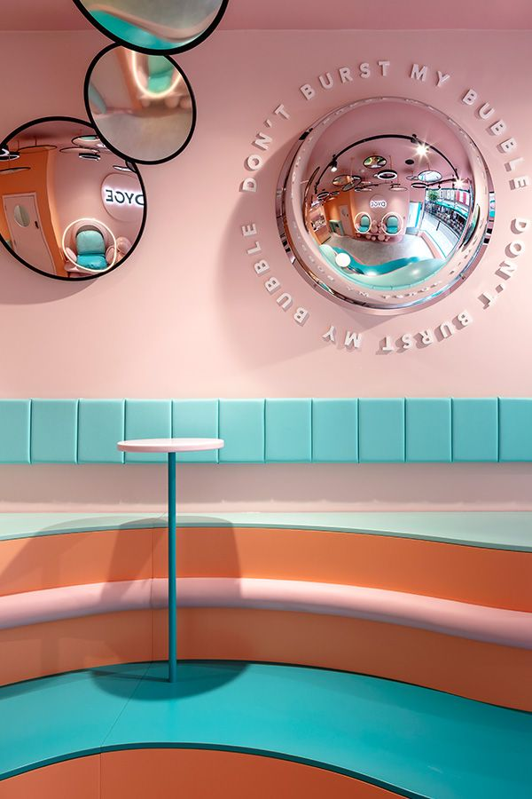 Emerging dessert parlour, Dyce approached FormRoom to develop a dynamic & fantastical interior brand identity for their first permanent space in Marylebone. Deco Restaurant, Restaurant Design, Commercial Design, Commercial Interiors, Cafe Design, Store Design, Cafeteria Retro, Photos Folles, Kids Cafe