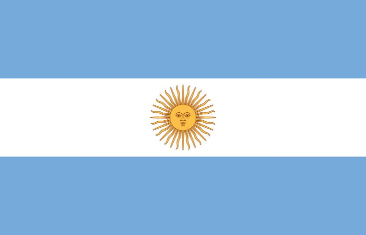 National flag of Argentina from http://www.flagsinformation.com/argentinian-country-flag.html   three equal horizontal bands of light blue (top), white, and light blue; centered in the white band is a radiant yellow sun with a human face known as the Sun of May.