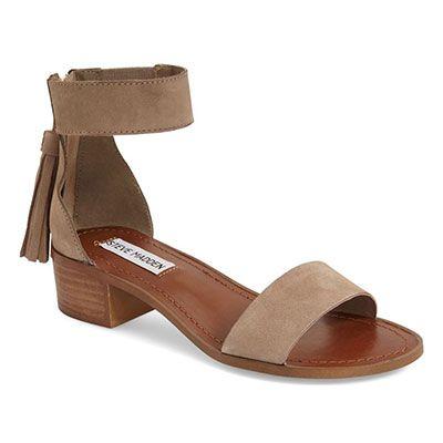 Steve Madden 'Darcie' Sandal - taupe suede low heel sandals, nude low heel sandals, nude suede low heel sandals, nude fringe sandals, nude suede fringe sandals, nude fringe low heel sandals, nude block heel sandals, taupe block heel sandals
