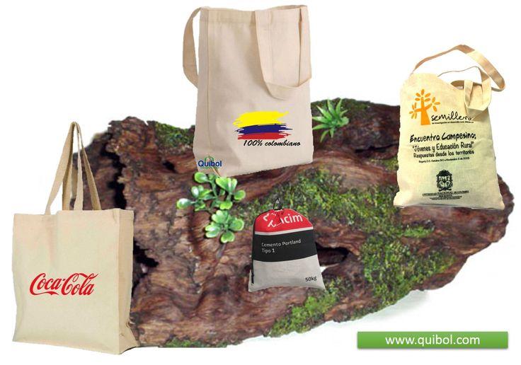 bolsas lona madreselva, yute natural, cambrel tnt, algodón orgánico.