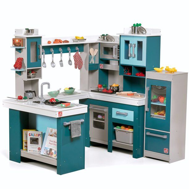 Step2 Grand Walk In Wood Play Kitchen With 15 Piece Accessory Play Set Kitchen Sets For Kids Diy Play Kitchen Wooden Play Kitchen
