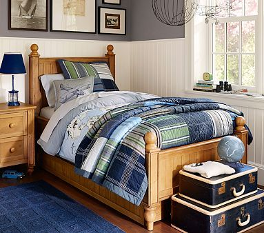 Thomas Bedroom Set, Weathered Pine #pbkids.  Nice looking bedroom, the colors and furniture. What I like best - THE STACKED LUGGAGE at the foot of the bed for storage!!!