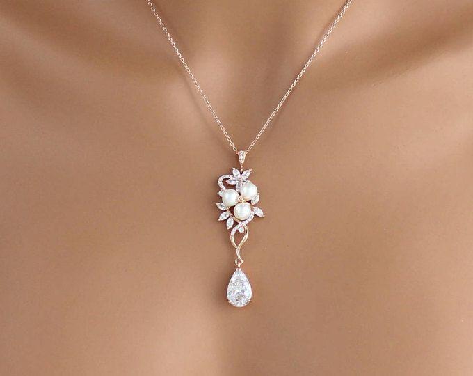 Collar nupcial de rosa oro, collar de cristal, joyería nupcial, collar de la boda, de Dama de honor collar, cristal de Swarovski, collar de perlas, MIA