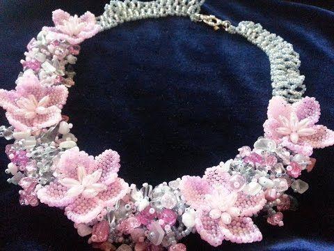 """Колье из бисера. """"Сакура"""". Часть 1/Necklaces of beads. """"Sakura"""". Part 1 - YouTube"""