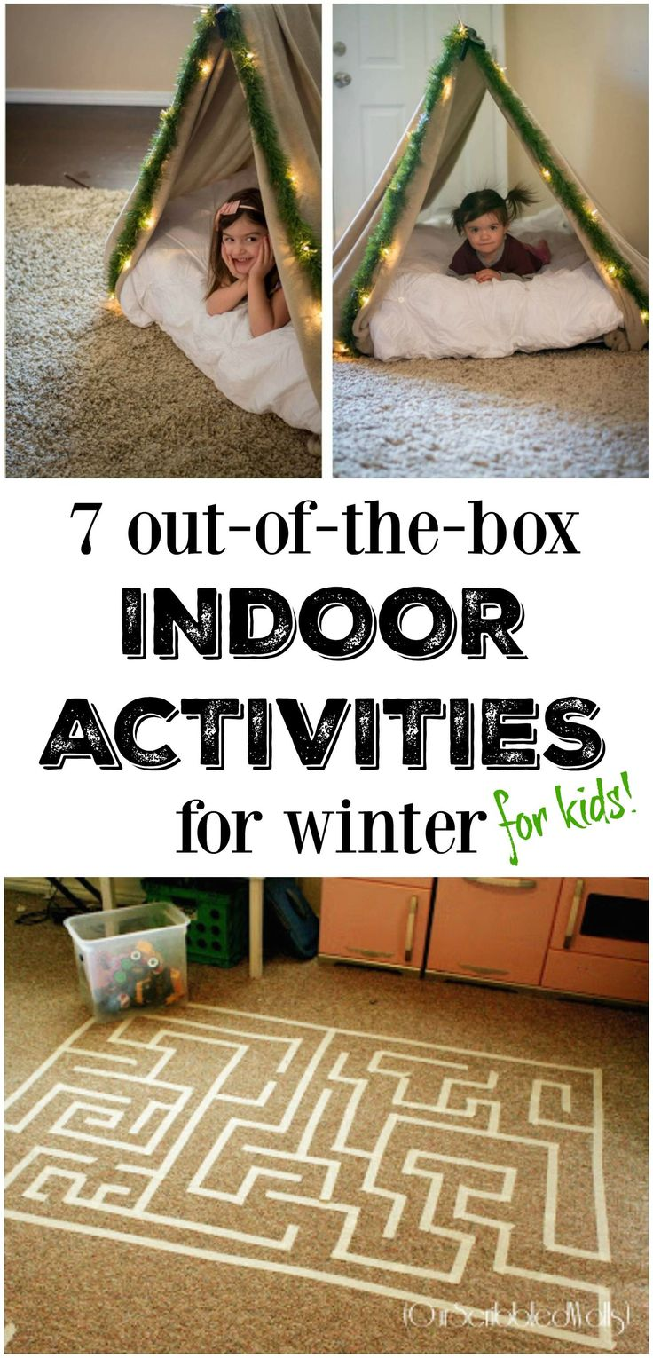 7 Out-of-the-box Indoor Activities for Winter! We set up a tent in the living room today and can't wait to make the maze tomorrow! One of my favorite kid's activities lists yet!! (sponsored)