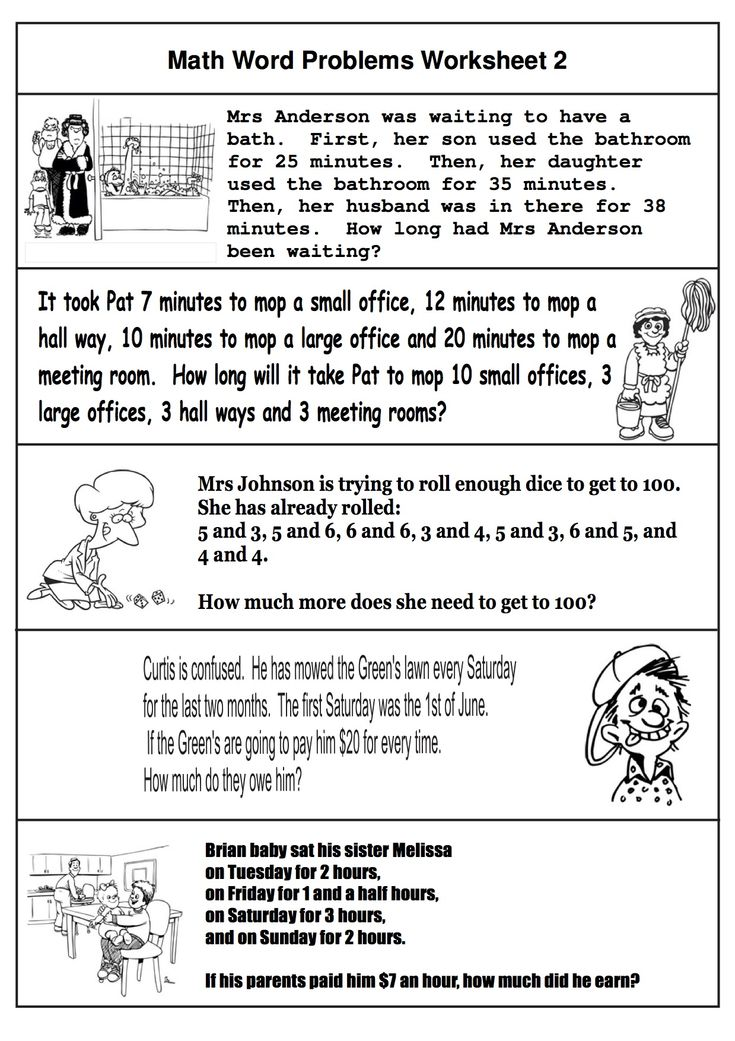 Free math word problems Six worksheets each one