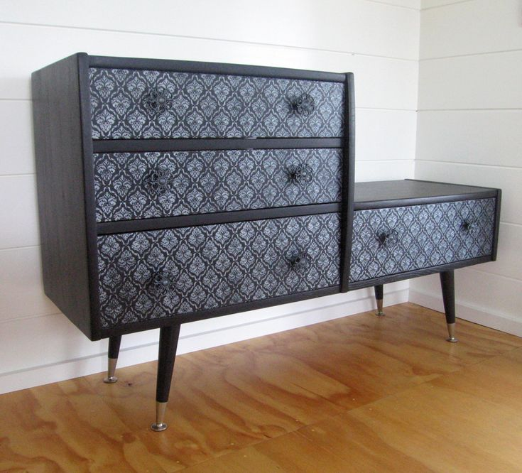 Retro Upcycled 4 Drawer Sideboard in Midnight Black With Hand-Painted Gunmetal Silver Embellishments