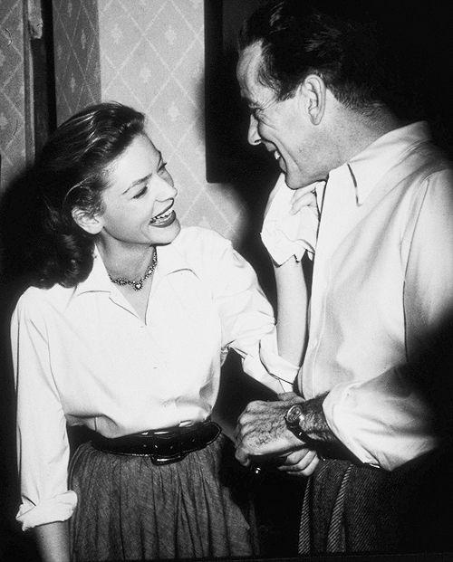 Humphrey Bogart and Lauren Bacall on the set of Key Largo (1948)