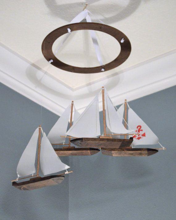 Nautical Nursery Mobile Custom Sailboat Anchor Wooden Fabric Applique Boat Modern Decor Baby Shower Gift Beach Theme Sailing Ocean Fish FlutterBunnyBoutique